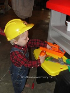 Toddler and Tool Bench