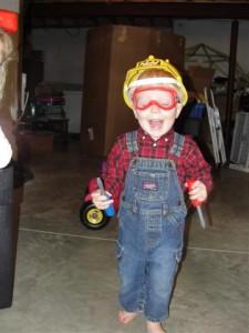 dressed as Bob the Builder