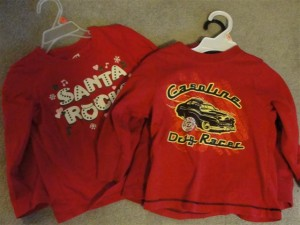 Having one in a car shirt and one in a Santa shirt just isn't working for me...