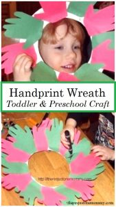 preschool Christmas craft -- make a handprint wreath