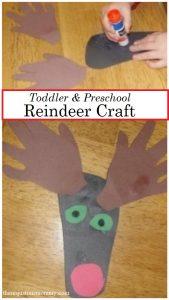 handprint reindeer craft for preschool