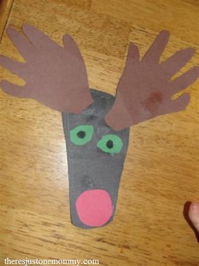 toddler Christmas craft -- make a hand and footprint reindeer