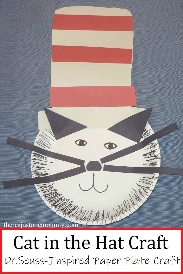 Dr. Seuss Cat in the Hat craft with paper plate