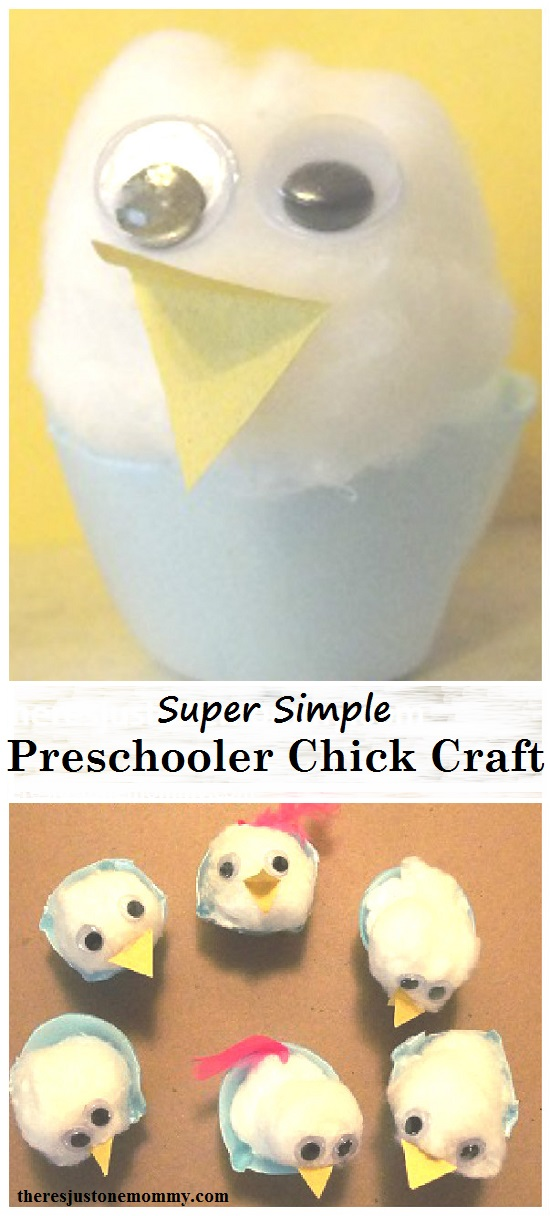 preschooler chick craft:  simple kids chick craft, fun toddler Easter craft or preschooler Easter craft idea