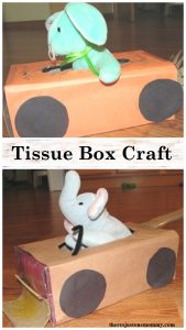 Tissue Box Craft: turn that empty tissue box into a stuffed animal car or truck; fun preschooler vehicle craft