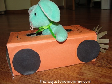 tissue box craft:  preschooler car craft idea