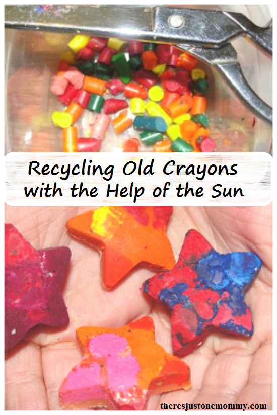 recycling old crayons into new ones -- perfect summer activity