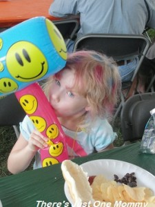 See the rainbow hair and the huge blow up hammer?  Things that make kids happy...