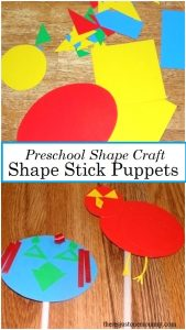 preschool shape craft -- make shape stick puppets