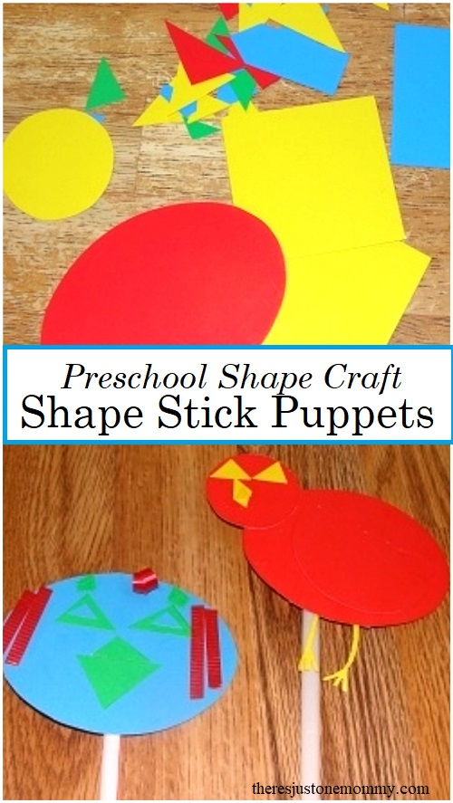 preschool shape craft -- make shape stick puppets