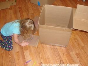 preschooler cardboard box craft