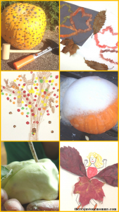 kids fall crafts and fall activities (pumpkin crafts and pumpkin activities, apple crafts and apple activities, fall leaf crafts, fall sensory bin)