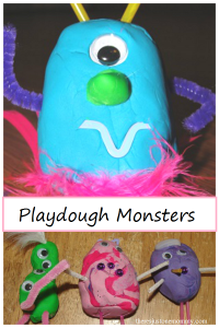 playdough monsters -- super fun playdough activity for preschoolers