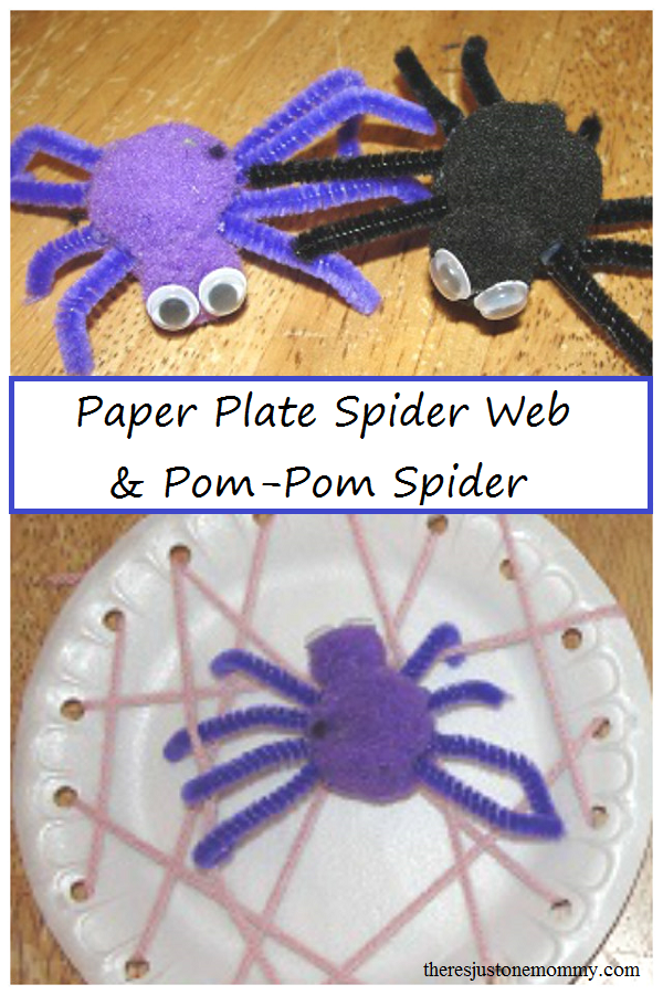 paper plate spider web craft and pom-pom spider craft