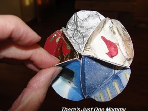 recycled Christmas card craft: homemade ornament