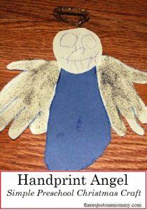 Handprint Angel Craft: Simple preschooler Christmas craft; #Christmas #kidscraft #angel