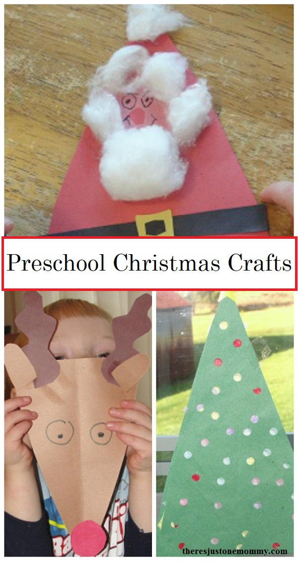 preschool Christmas crafts -- simple toddler and preschool crafts with triangles