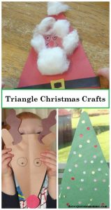 Preschooler Christmas crafts -- 3 kids triangle crafts for Christmas