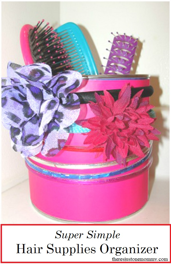 DIY Hair Supplies Organizer -- recycled craft for kids that is perfect for organizing hair accessories