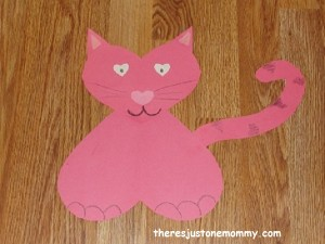 Valentine's Day craft: cat made of hearts