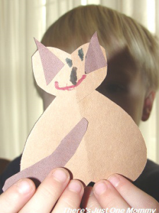 preschooler Valentine's Day craft -- simple heart animals
