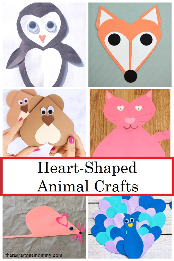 heart shaped animal crafts for Valentine's Day