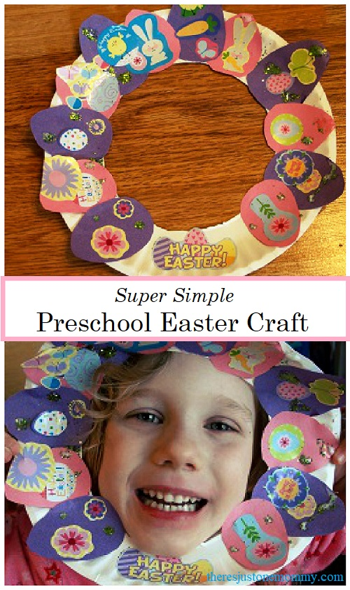 preschool Easter craft:  make a super simple paper plate Easter wreath