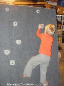 preschooler climbing wall