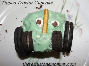 tipped tractor cupcake