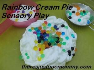 Sensory Play:  Rainbow Cream Pie