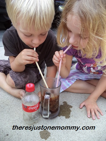 kids drinking a homemade soda slushie