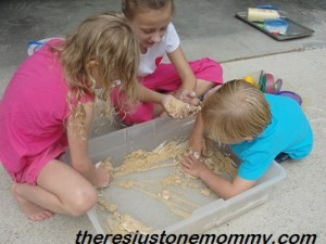sand and shaving cream sensory tub