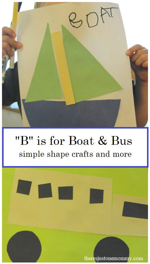 vehicle themed learning activities for the letter B, including shape crafts