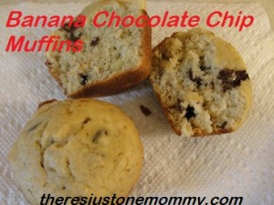banana chocolate chip muffins via There's Just One Mommy