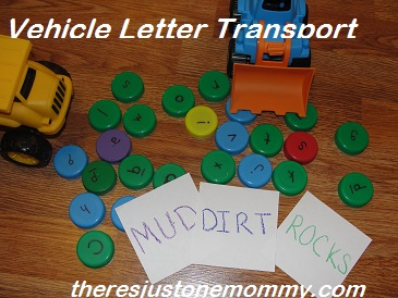 preschool  activities for letter d using toy trucks