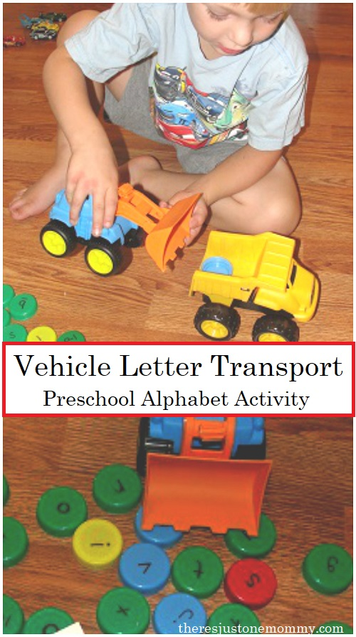 "preschool letter activity -- use toy construction vehicles to work on ABC skills in ""D"" is for Dump Truck"