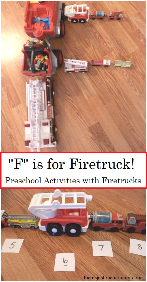 preschool learning activities using toy firetrucks -- including alphabet activities