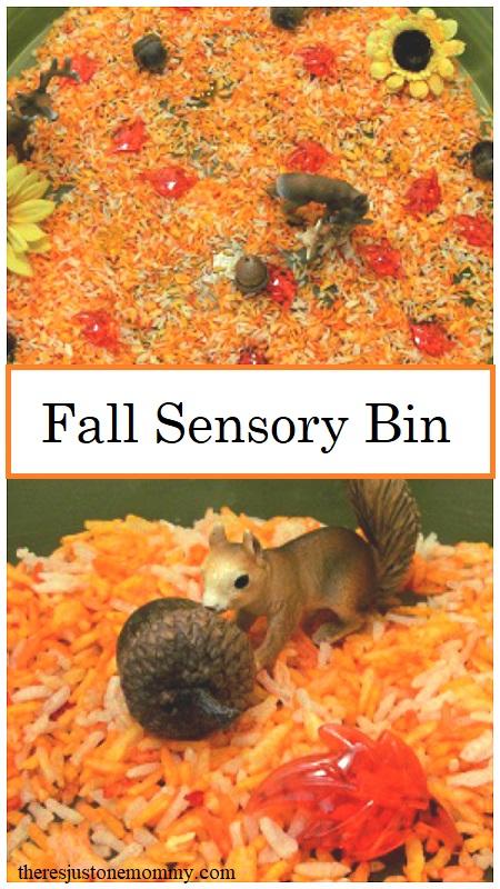 fall sensory play -- super simple fall sensory with colored rice as a base