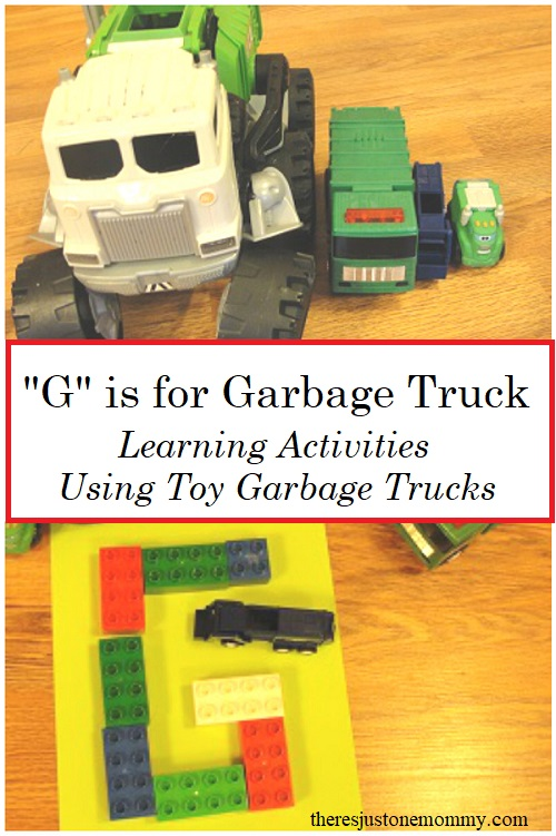 learning activities with toy vehicles:  G is for Garbage Truck has fun hands-on preschool activities with toy garbage trucks
