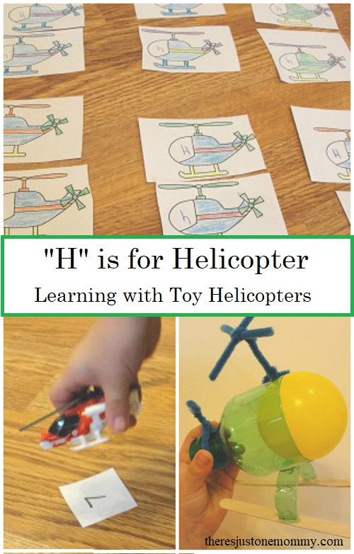 Learning Activities with Vehicles -- using toy helicopters to learn ABC's and numbers, fun preschool ideas for the letter H