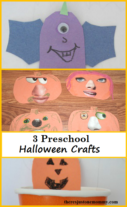 3 Preschool Halloween Crafts: simple pumpkin crafts and Purple People Eater Craft