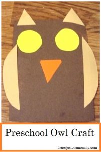 preschool owl craft -- simple shape craft for toddlers and preschoolers