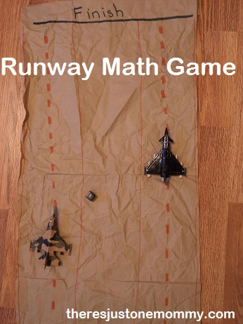 preschool math game using toy jets; learning activity with toy vehicles