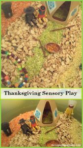 Thanksgiving small world -- simple Thanksgiving sensory play for preschoolers