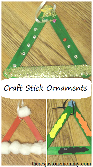 simple craft stick Christmas tree ornaments