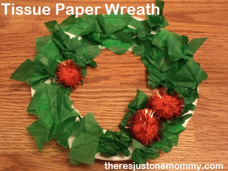 Tissue Paper Wreath preschooler Christmas craft paper plate wreath & 3 Wreath Crafts | There\u0027s Just One Mommy