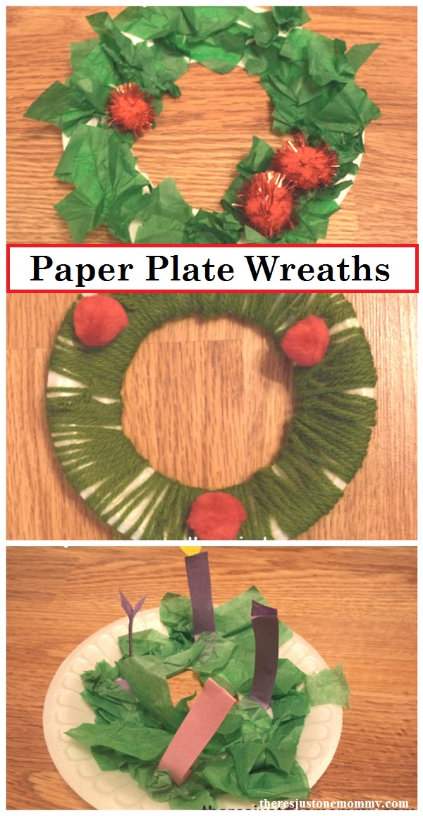 3 paper plate wreaths kids can make; simple Christmas craft