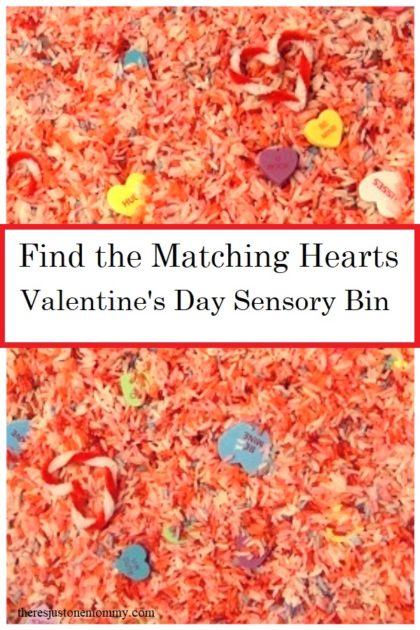 find the matching hearts sensory bin for Valentine's Day