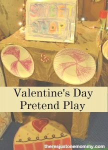 cardboard box playhouse for Valentine's Day pretend play