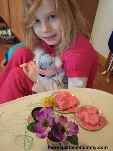 pretend tea party with play dough cookies